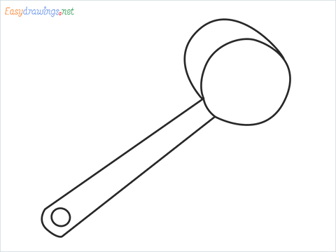 How to draw a Bowl ladle step by step for beginners