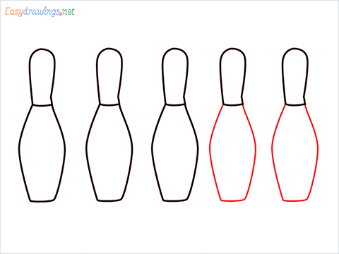 How to draw a Bowling Bottles (Pin) step (4)