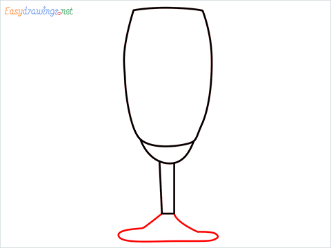How to draw a Champagne flute step (5)