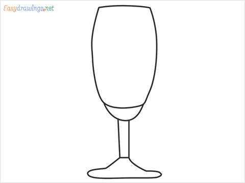 How to draw a Champagne flute step by step for beginners