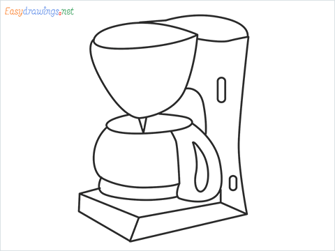 How to draw a Coffee maker step by step for beginners