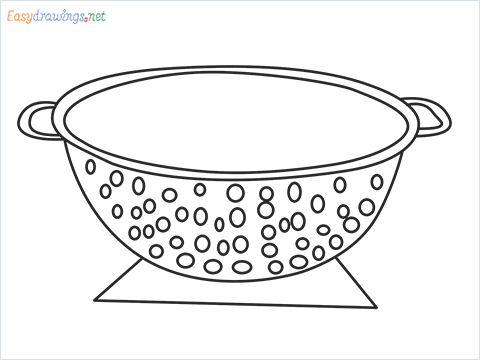 How to draw a Colander step by step for beginners