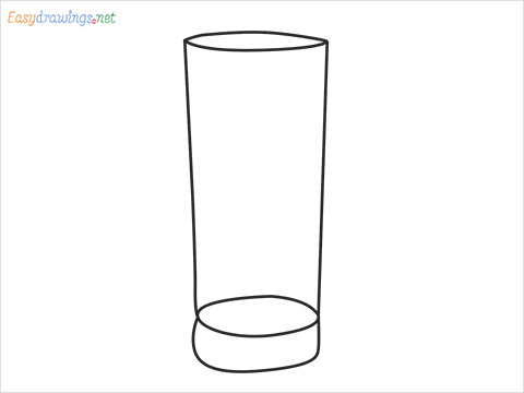 How to draw a Collins glass step by step for beginners