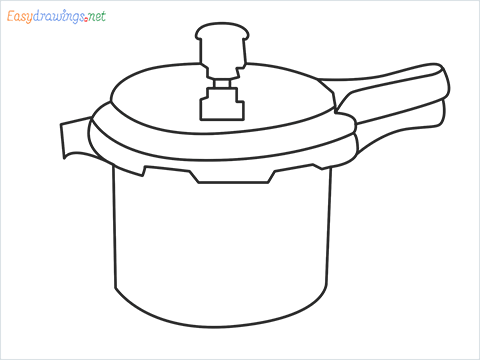How to draw a Cooker step by step for beginners