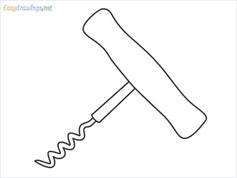 How to draw a Corkscrew step by step for beginners