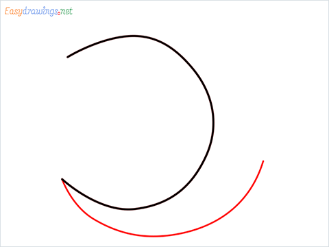 How to draw a Crescent shape step (2)