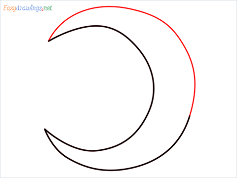 How to draw a Crescent shape step (3)