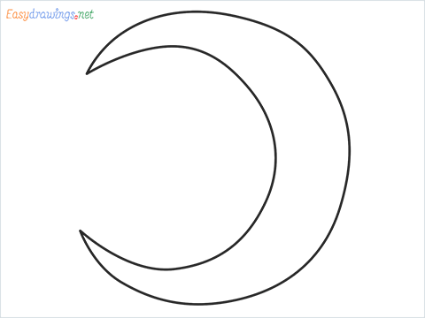 How to draw a Crescent shape step by step for beginners