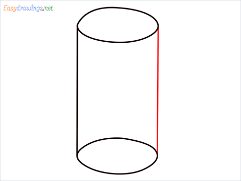 How to draw a Cylinder shape step (4)
