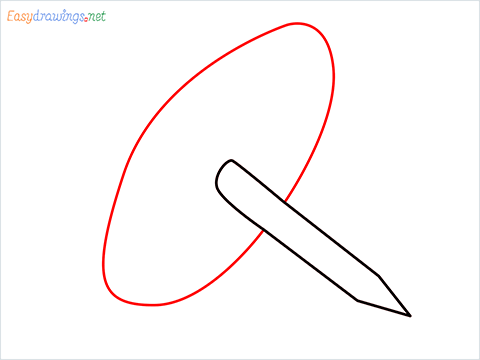 How to draw a Drawing pin step (4)