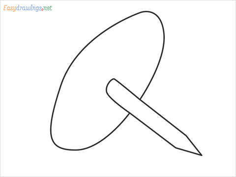 How to draw a Drawing pin step by step for beginners