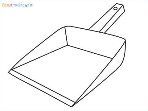 How to draw a Dustpan step by step for beginners