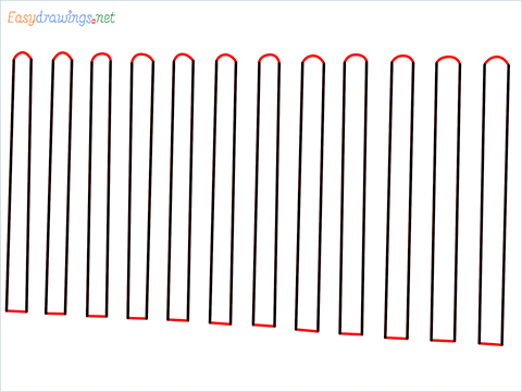How to draw a Fence step (3)