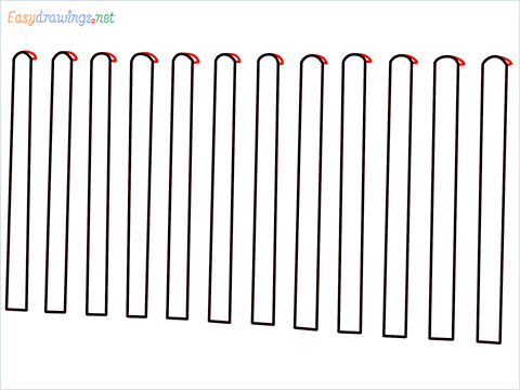 How to draw a Fence step (4)