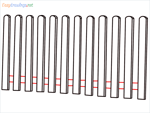 How to draw a Fence step (6)