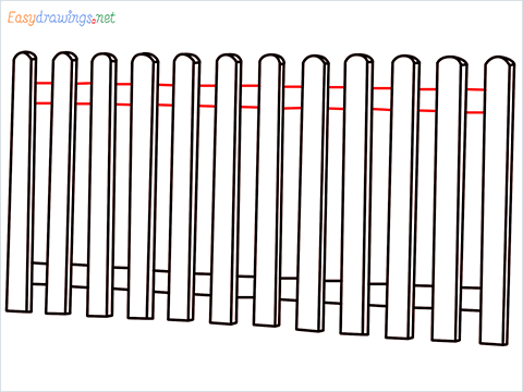 How to draw a Fence step (7)