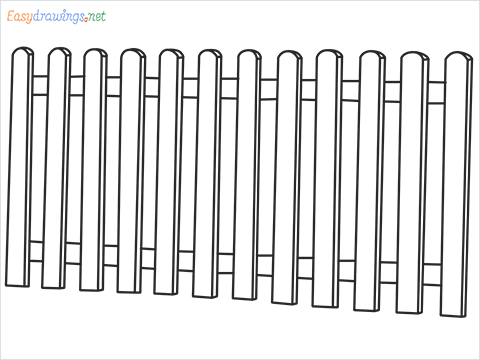 How to draw a Fence step by step for beginners