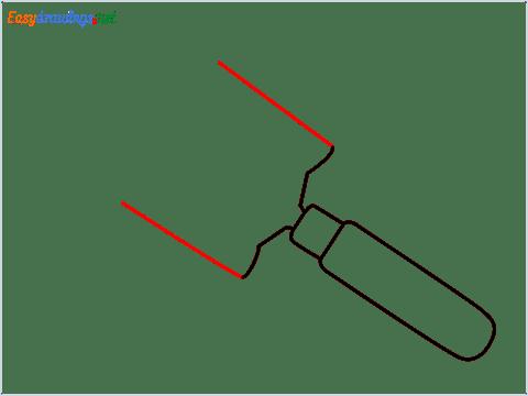 How to draw a Garden trowel step (4)