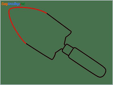 How to draw a Garden trowel step (5)