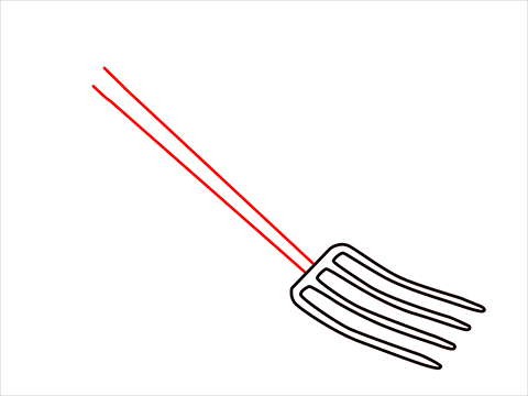 How to draw a Gardening fork step (3)