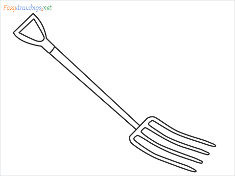 How to draw a Gardening fork step by step for beginners