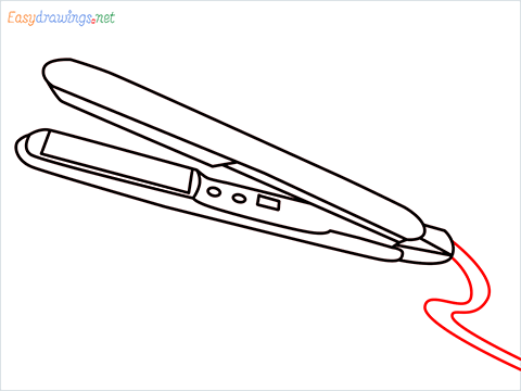 How to draw a Hair iron or Curling iron drawing step (10)
