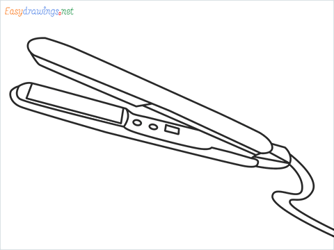 How to draw a Hair iron or Curling iron drawing step by step for beginners