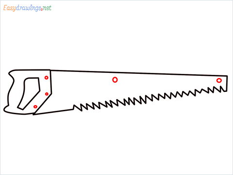 How to draw a Hand Saw step (5)