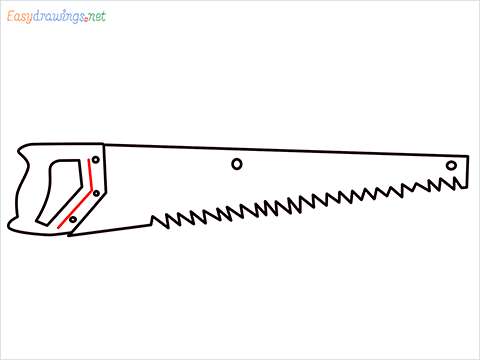 How to draw a Hand Saw step (6)