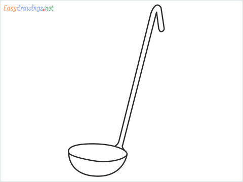 How to draw a Ladle step by step for beginners