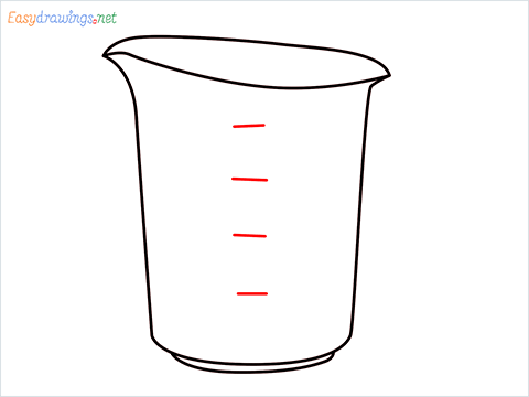 How to draw a Measuring cup step (5)
