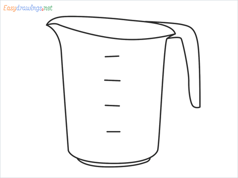 How to draw a Measuring cup step by step for beginners