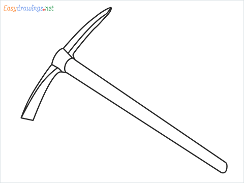 How to draw a Pickaxe step by step for beginners