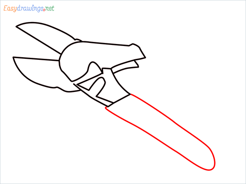 How to draw a Pruners pruning shears step (6)