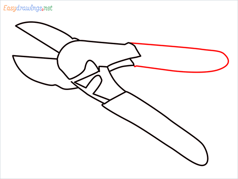 How to draw a Pruners pruning shears step (7)