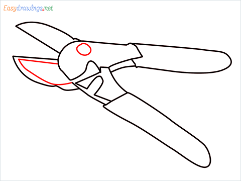 How to draw a Pruners pruning shears step (8)
