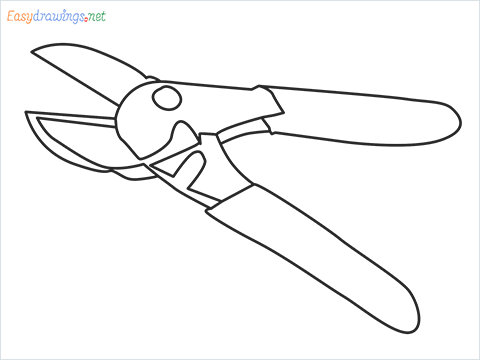How to draw a Pruners pruning shears step by step for beginners