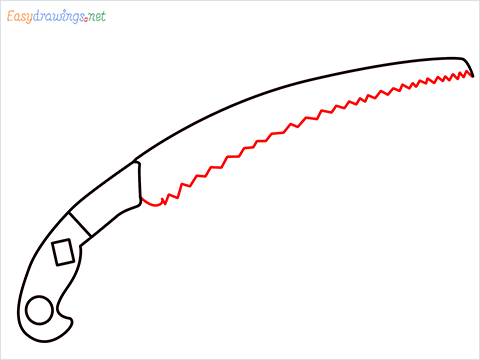 How to draw a Pruning saw step (6)