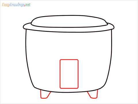 How to draw a Rice cooker step (4)