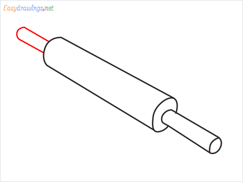 How to draw a Rolling pin with Board step (4)