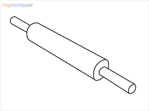 How to draw a Rolling pin with Board step by step for beginners