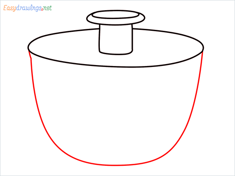 How to draw a Salad spinner step (5)