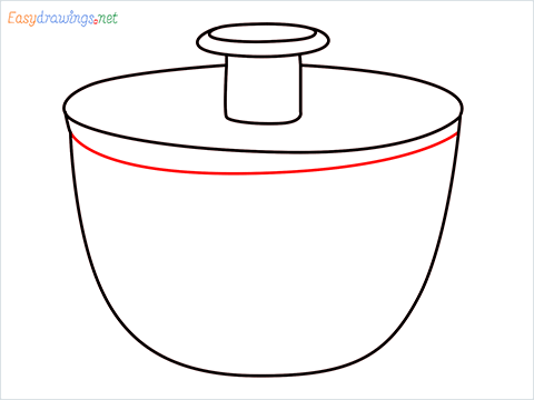 How to draw a Salad spinner step (6)