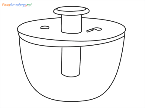 How to draw a Salad spinner step by step for beginners