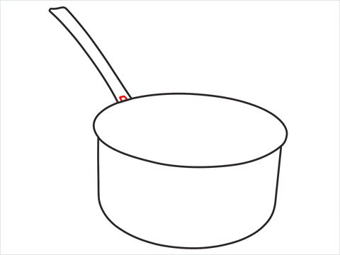 How to draw a Saucepan step (4)