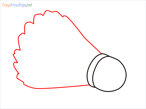 How to draw a Shuttlecock step (3)