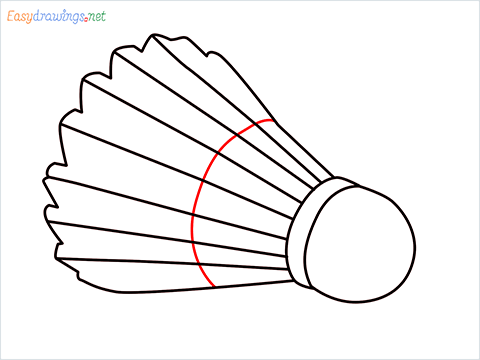 How to draw a Shuttlecock step (5)