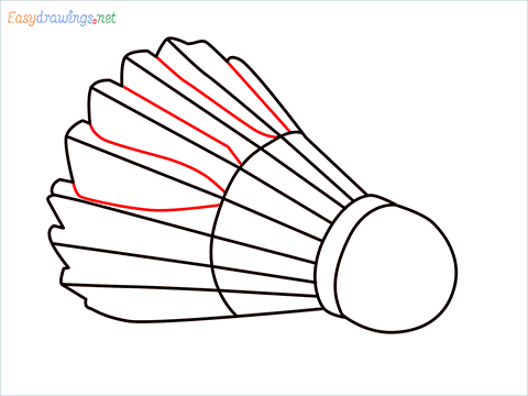 How to draw a Shuttlecock step (6)