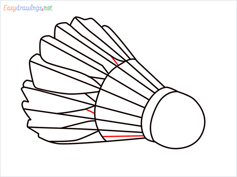 How to draw a Shuttlecock step (8)
