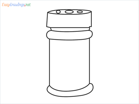 How to draw a Spice container step by step for beginners